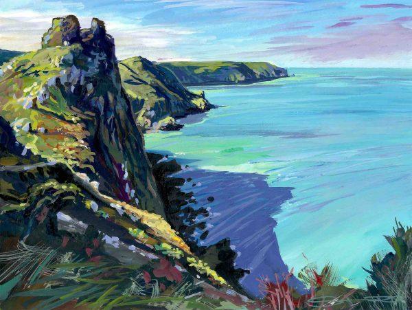 Castle Rock Tor , Valley of the Rocks, North Devon,colourful gouache landscape painting by contemporary landscape painter Steve PP.