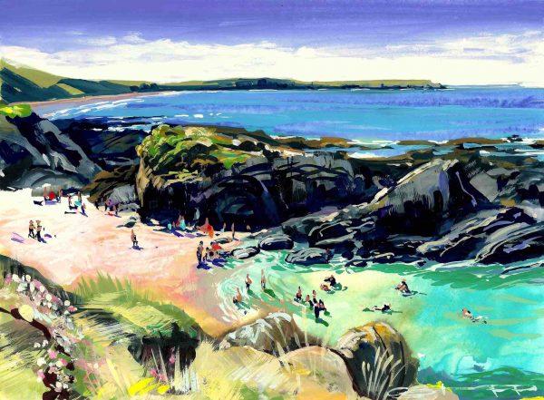 Barricane beach high summer colourful gouache landscape painting by contemporary landscape painter Steve PP.