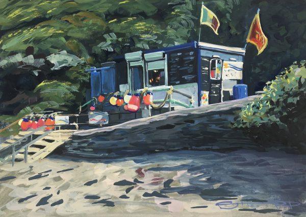 Barricane beach cafe, colourful gouache landscape painting by contemporary landscape painter Steve PP.