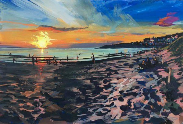 Woolacombe evening, a colourful gouache landscape painting by contemporary landscape painter Steve PP.