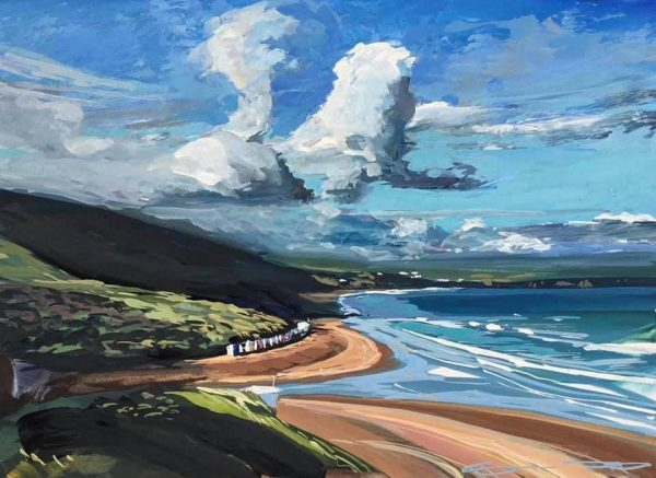 early morning peace, colourful gouache landscape painting by contemporary landscape painter Steve PP.