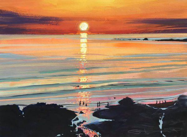 golden moments colourful gouache landscape painting by contemporary landscape painter Steve PP.