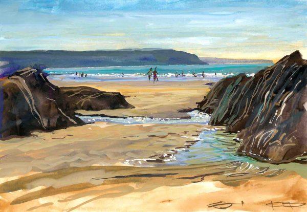 Hot Combesgate beach, colourful gouache landscape painting by contemporary landscape painter Steve PP.