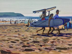 Hotfootin' woolacombe beach painting colourful gouache landscape painting by contemporary landscape painter Steve PP. Paintings of Woolacombe beach.
