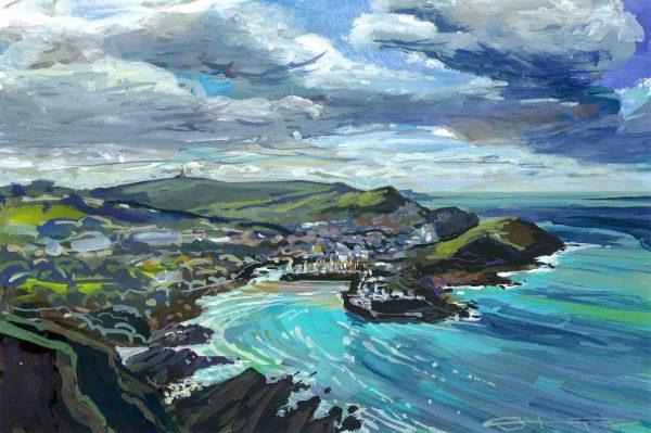 Ilfracombe harbour, North Devon, colourful gouache landscape painting by contemporary landscape painter Steve PP.