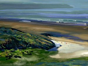 morning warmth, colourful gouache landscape painting by contemporary landscape painter Steve PP.
