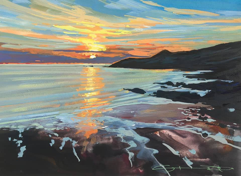 sizzling colourful gouache landscape painting by contemporary landscape painter Steve PP.