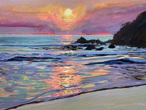 summer tide colourful gouache landscape painting by contemporary landscape painter Steve PP.