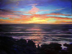 Summers last fling, colourful gouache landscape painting by contemporary landscape painter Steve PP.