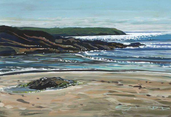 sunday sparkle, colourful gouache landscape painting by contemporary landscape painter Steve PP.