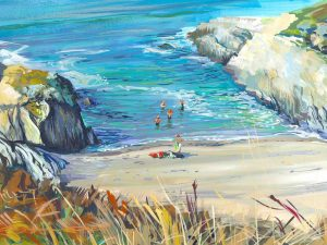 Painting of sea swimmers at Barricane Beach, Woolacombe. colourful gouache landscape painting by contemporary landscape painter Steve PP.