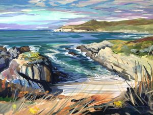 Indian summer waether on Barricane beach, colourful gouache landscape painting by contemporary landscape painter Steve PP.