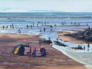 Sparkling islands, colourful gouache landscape painting of Woolacombe beach by contemporary landscape painter Steve PP.