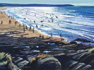 Sunshine Woolacombe Beach painting. Colourful gouache landscape painting by contemporary landscape painter Steve PP.