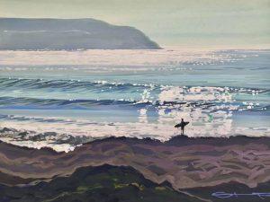 surfer watching the ocean waves, colourful gouache landscape painting by contemporary landscape painter Steve PP.